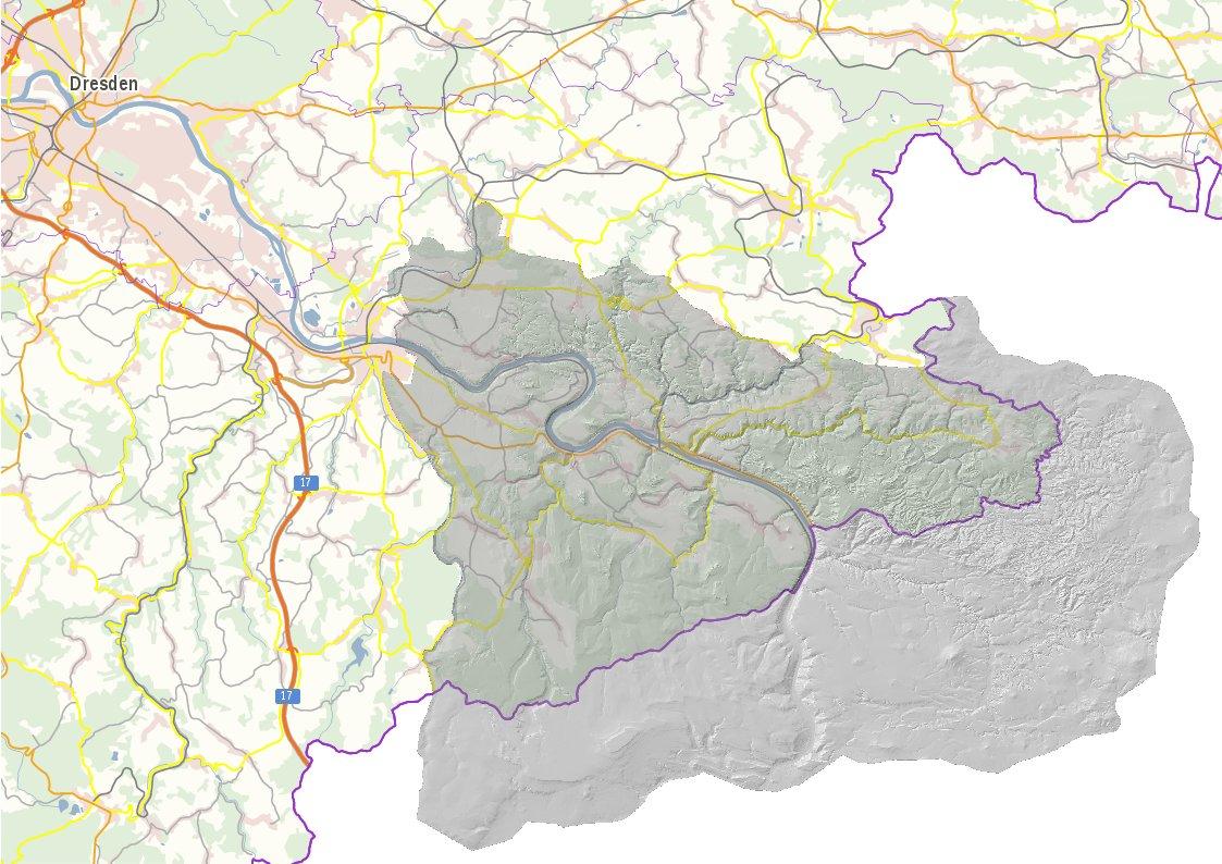 Kartenausschnitt Sachsen mit Elbsandsteingebirge